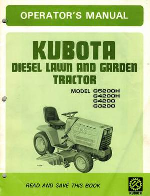 KUBOTA GH GH G G LAWN TRACTOR OPERATOR'S
