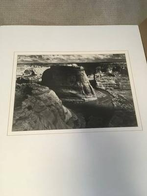 """Ansel Adams """"View of Valley from Mountain"""" Print w Double"""