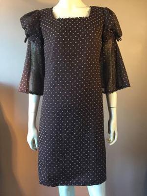 Brown Polka Dot s s Vintage Party Dress S