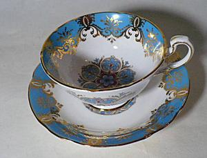 Cup and Saucer Bone China Paragon Royal Warrant Blue and