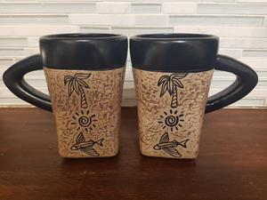 NEW set of 2 one-of-a-kind Coffee / Tea Mugs from Barbados -