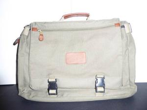 OLIVE GREEN CANVAS & LEATHER BRIEFCASE - MINT