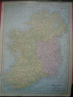 vintage map of Ireland antique 10 x 14 inches Portugal