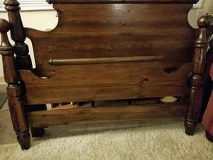 Beautiful mahogany wood headboard/footboard with frame