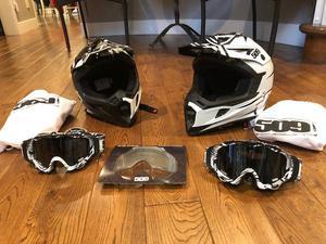 Like new 509Helmet and polarized goggles x2