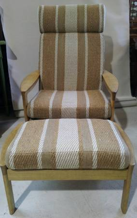 mid century armchair and matching stool