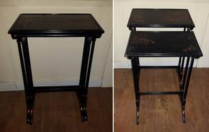Pair of Ornate Antique Wood Nesting Tables