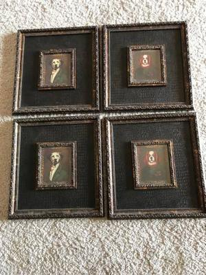 Set of 4 Framed, pictures of dogs