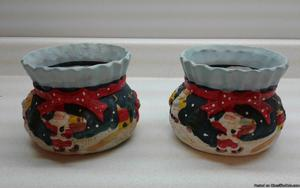 CHRISTMAS SANTA CERAMIC PLANTER POT BOWLS