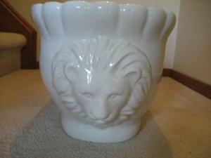 Italian White Ceramic Lion Planter
