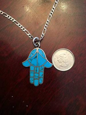 Long Sterling Silver Necklace with Beautiful Turquoise Hamsa