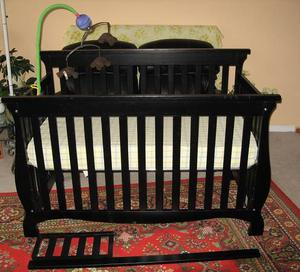 Solid Wood 4-in-1 Convertible Baby Crib with Mattress and