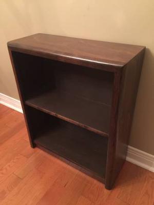 Art Deco Bookcase - 2 Shelves- Dark Walnut- Vintage Mint