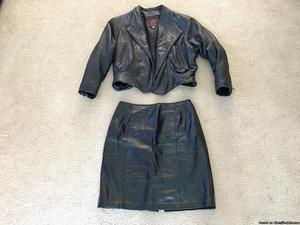 ***Women's Leather Jacket and Skirt***