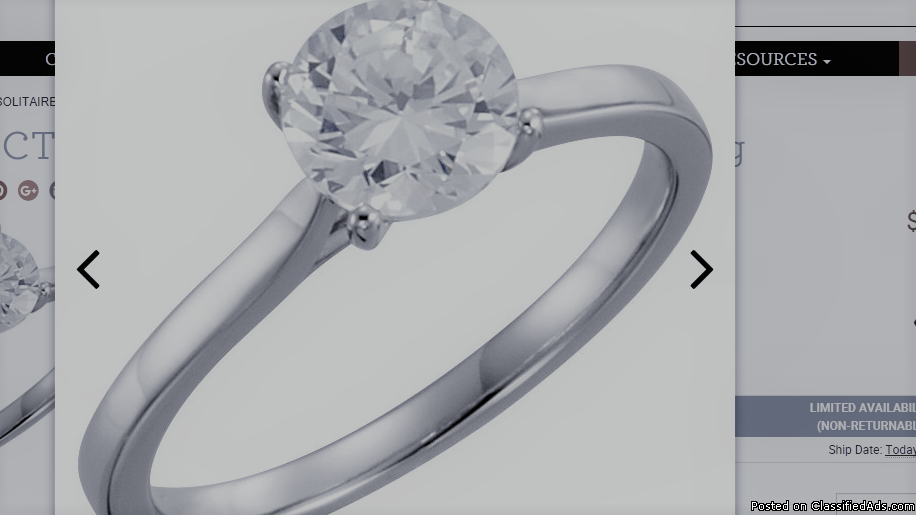 14K White 1 CTW Diamond Solitaire Engagement Ring