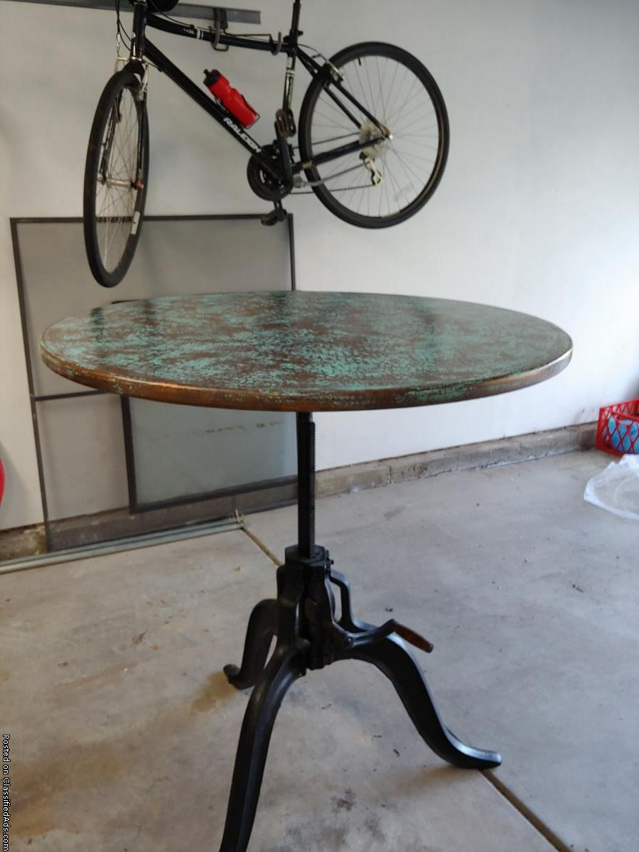 Arhaus Copper top cafe/pub table with Edison base