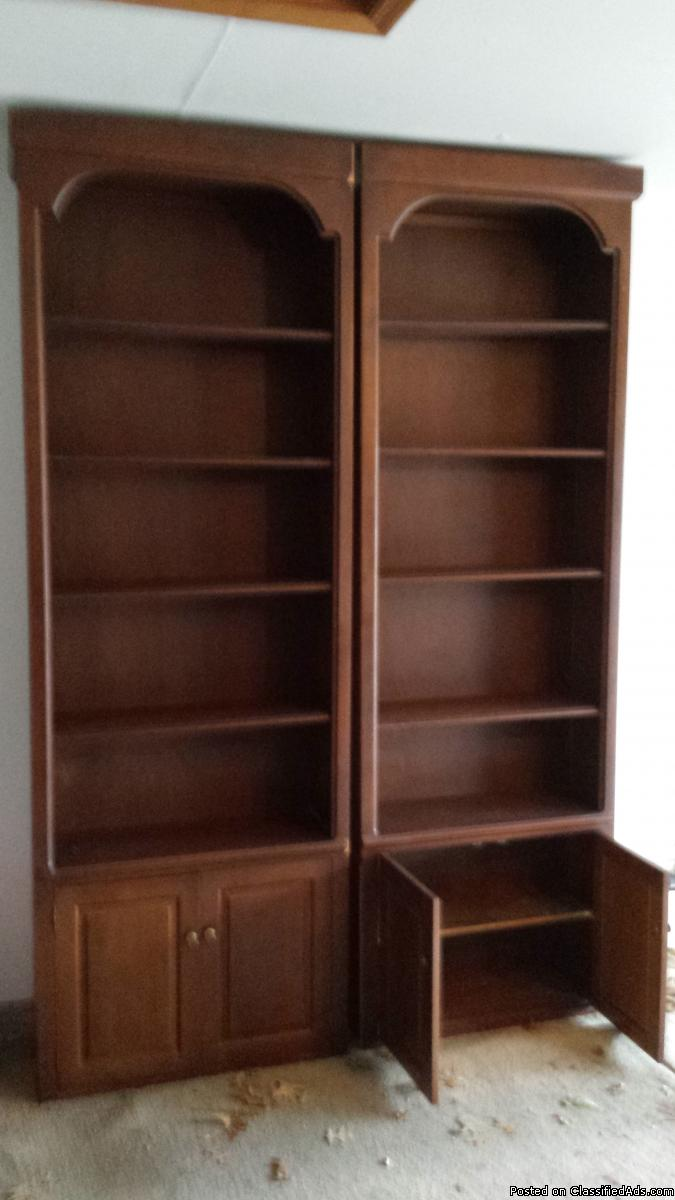 2 Large Solid Wood Bookcases