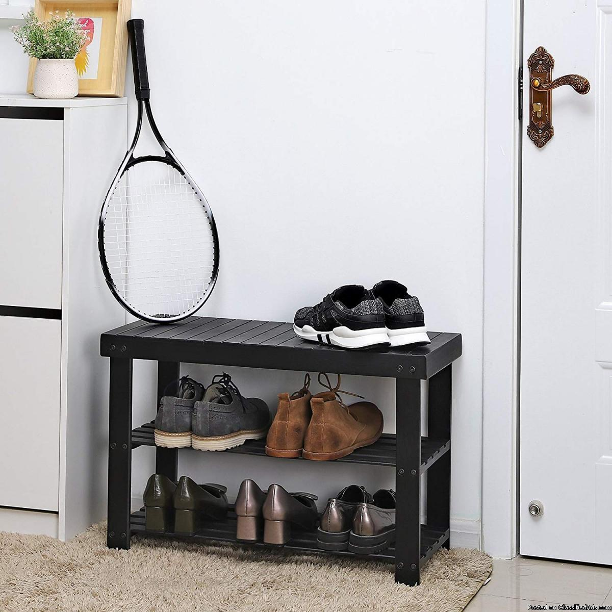 Black Bamboo Shoe Rack Bench, 3-TIER