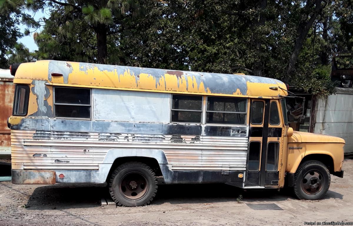 DODGE SCHOOL BUS-PARTLY MADE INTO RV, 4 SP, 318 V-8, 2