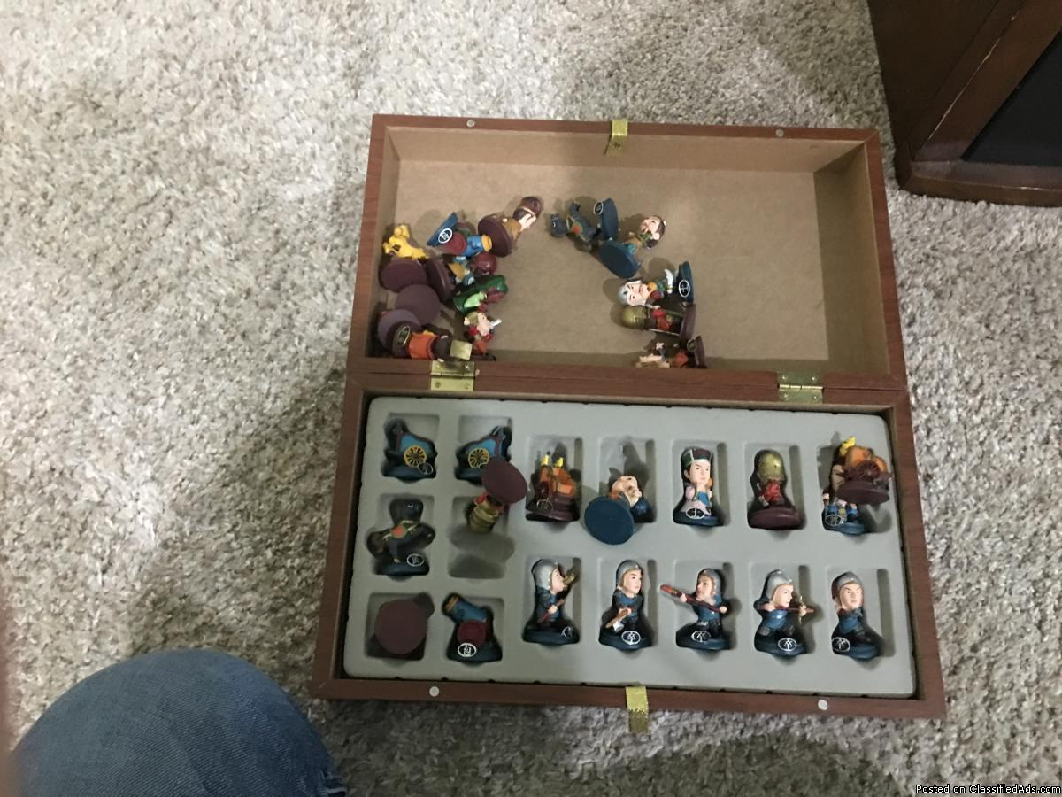 Cartoon figurines chinese chess board and pieces