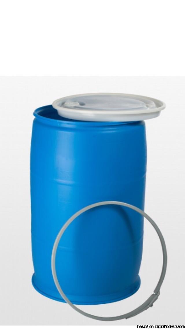 55 gallon plastic barrels with removable lids for sale