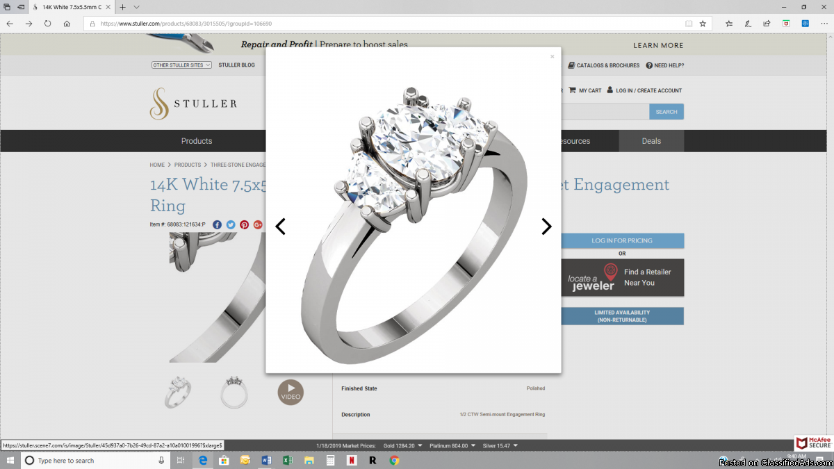 14K White 7.5x5.5mm Oval 1/2 CTW Diamond Semi-Set Engagement