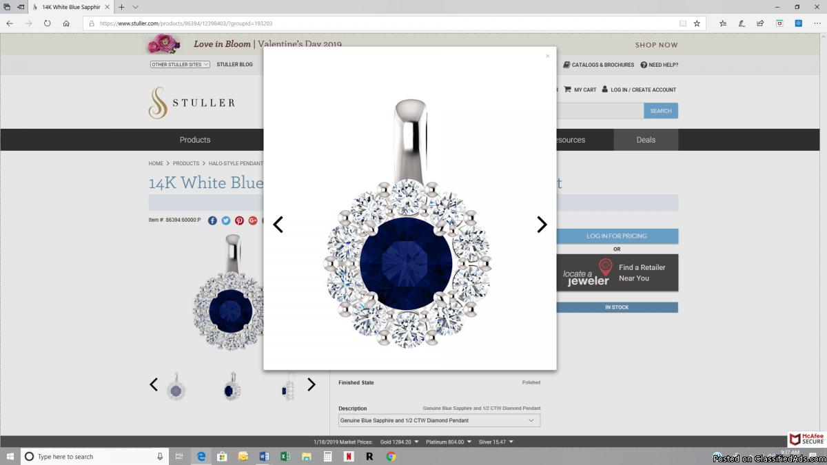 14K White Blue Sapphire & 1/2 CTW Diamond Pendant
