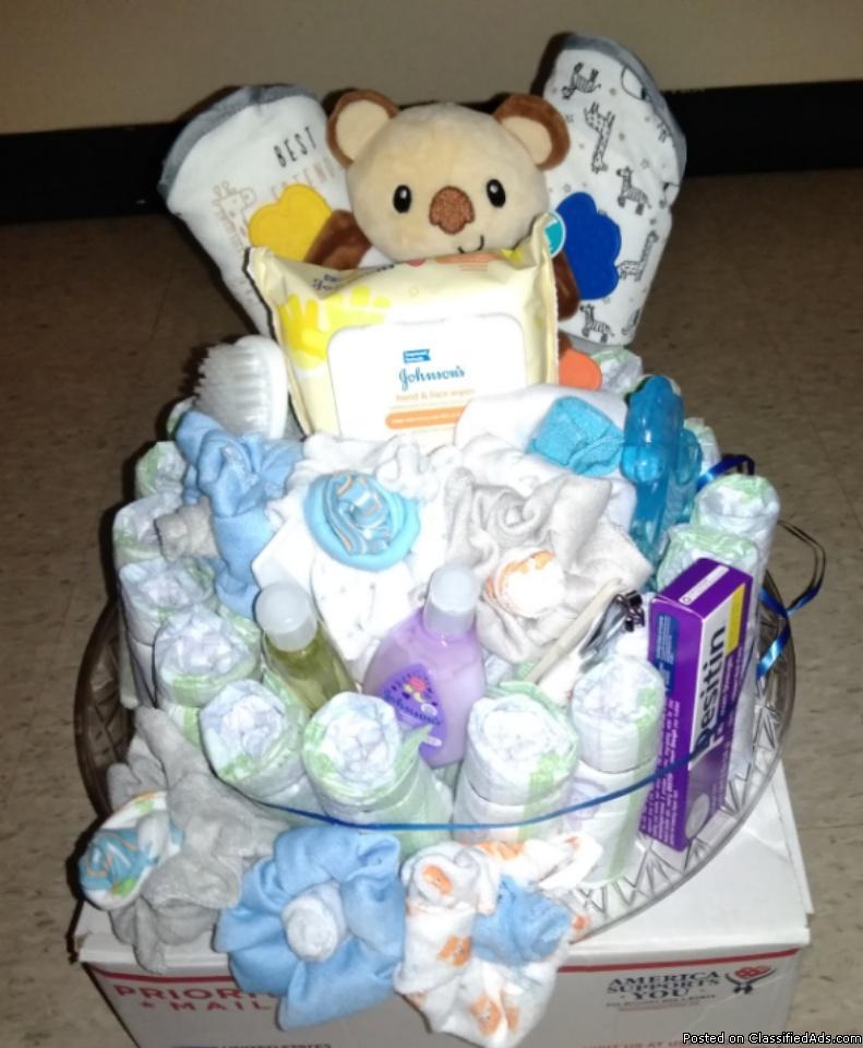 Baby shower item; Diaper cake; New mom gift