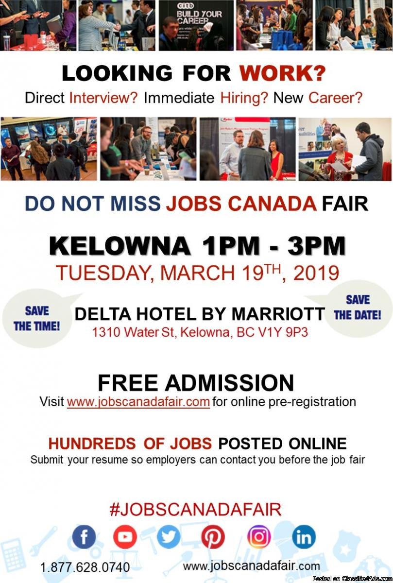 FREE: Kelowna Job Fair – March 19th,