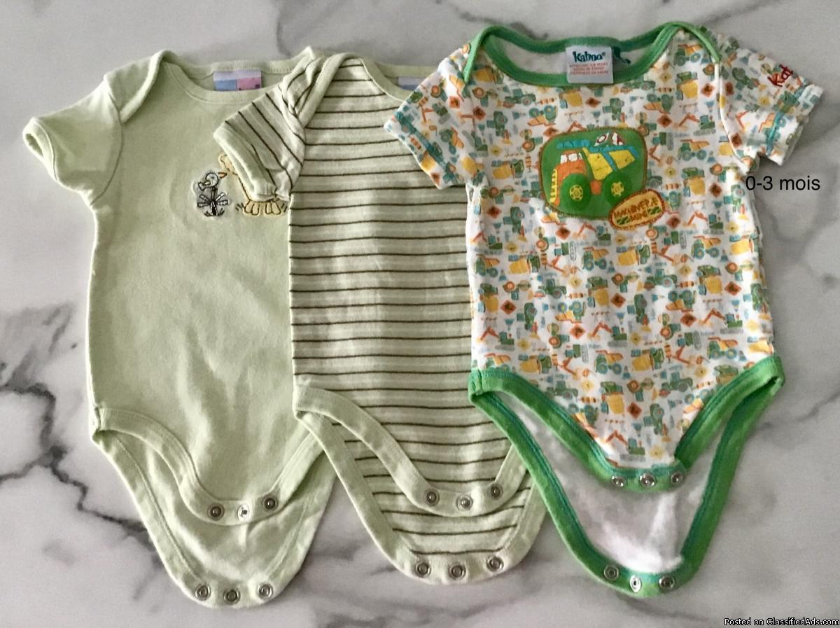 Vêtements pour bébé garcon 0-3 mois. Cache couches. T