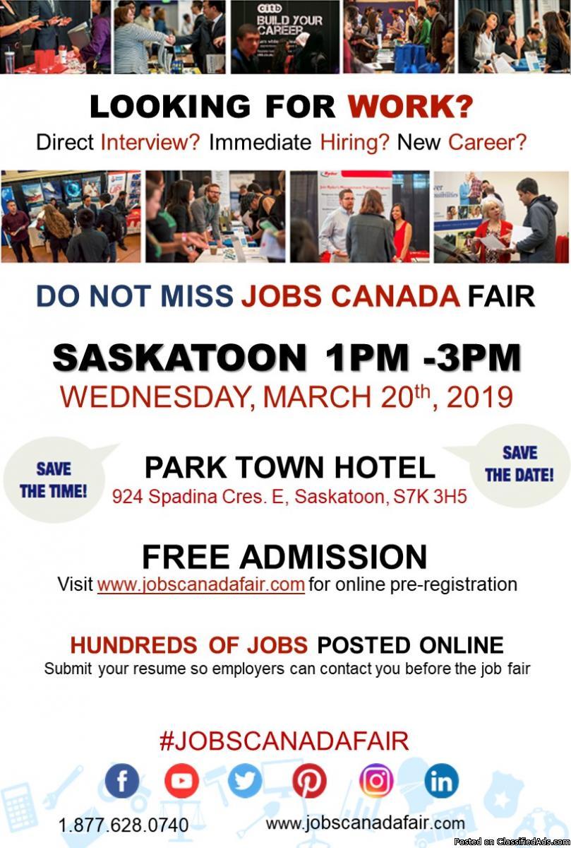 FREE: Saskatoon Job Fair – March 20th,