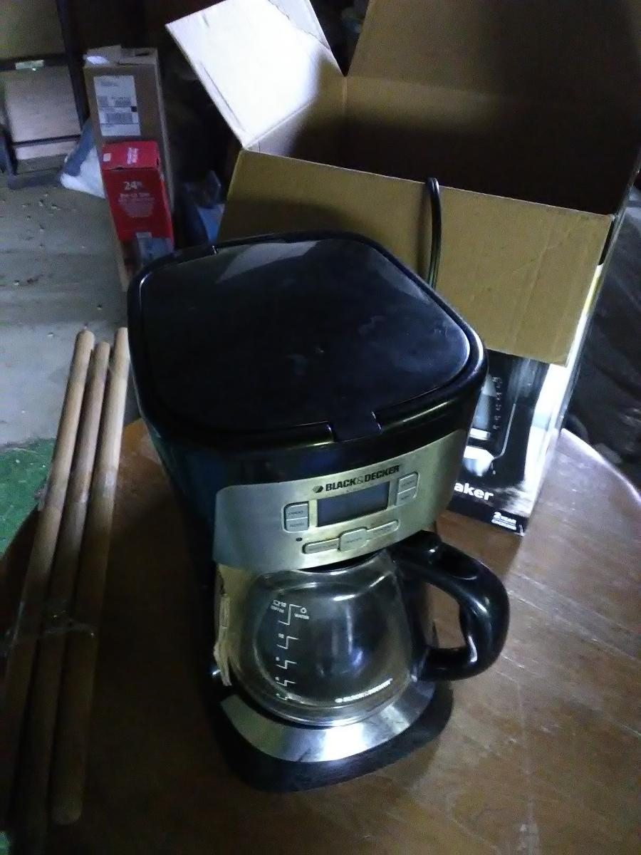 Black and Decker 12 cup programmable coffee maker.