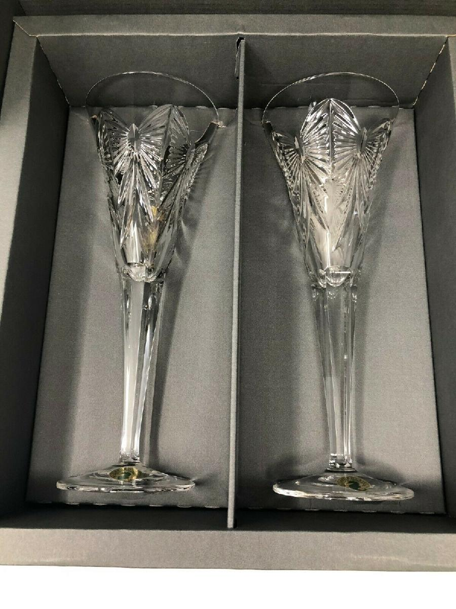 Waterford Millennium Happiness Flutes, New in Box
