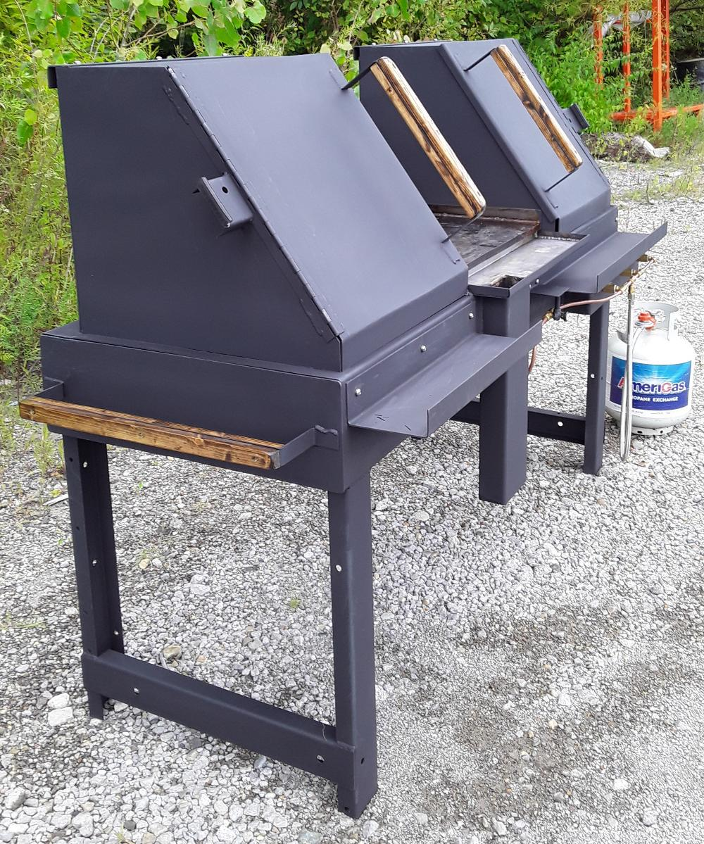 Propane gas grill and flat top with charcoal grilling