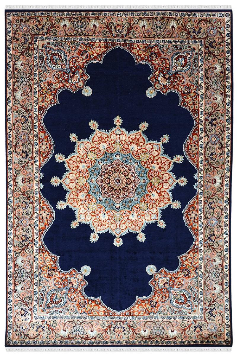 Bluish Central Medallion Handknotted Silk Carpet