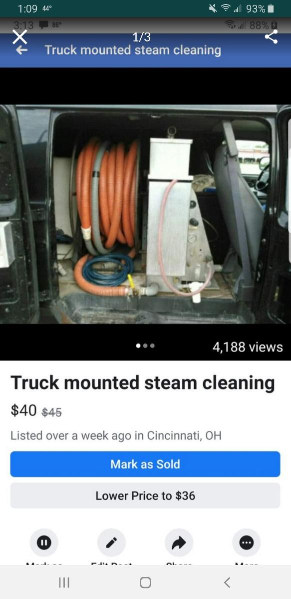 Truck mounted carpet steam cleaning service.