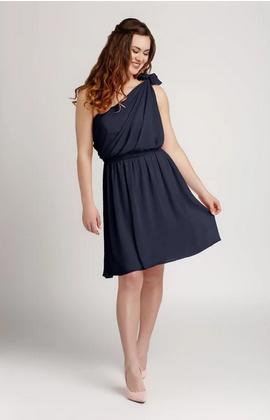 One Shoulder Knee Length Chiffon Bridesmaid Dress| brides