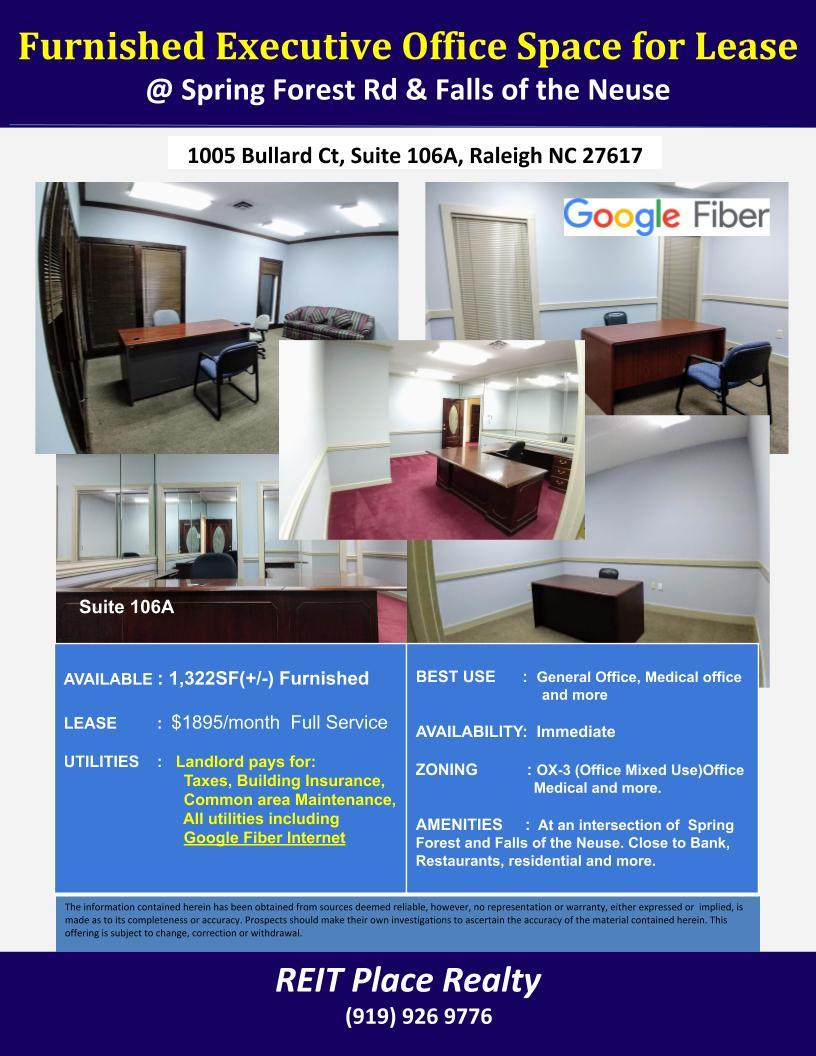Furnished Executive Office available in North Raleigh (@