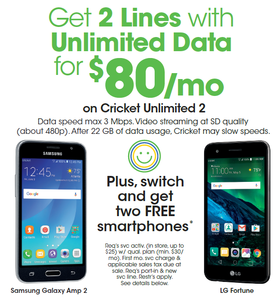 2 LINES UNLIMITED DATA FOR $80 A MONTH! PLUS GET 2 FREE