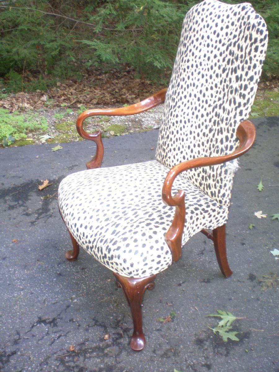 Victorian era style Arm Chair carved wood and upolstered
