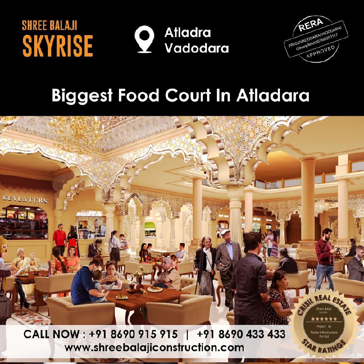 Take a break and grab a bite at Atladara's largest food