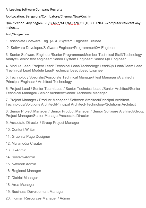WANTED SOFTWARE COMPANY ENGINEERS