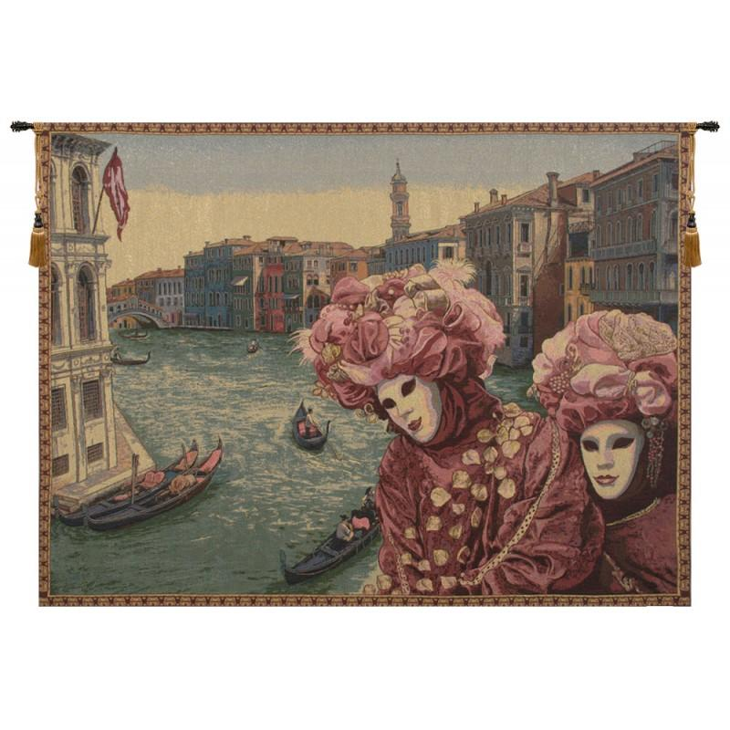 VIEW WITH MASKS ITALIAN TAPESTRY WALL HANGING