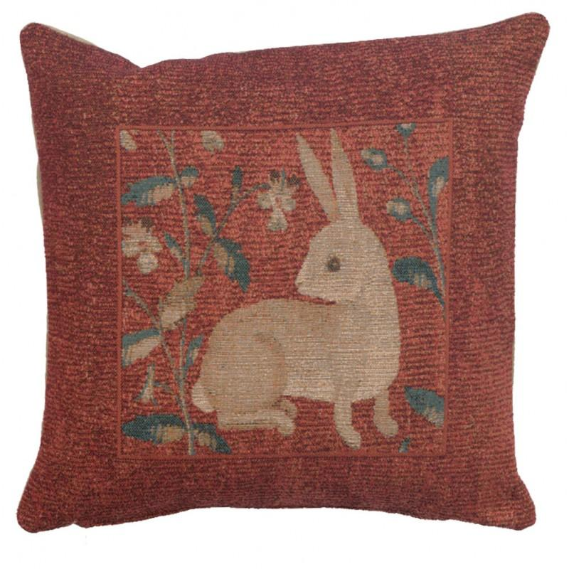 SITTING RABBIT IN RED FRENCH TAPESTRY CUSHION
