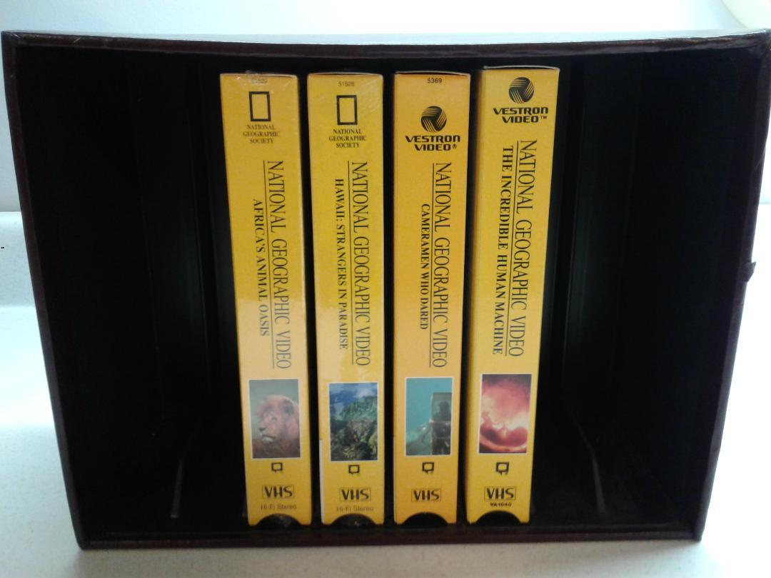 4 NATIONAL GEOGRAPHIC COLLECTION VHS TAPES W/ STORAGE BOX