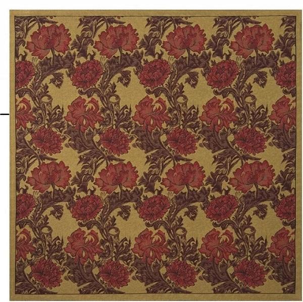 Chrysanthemum Bordo II Belgian Tapestry Throw