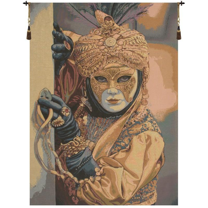 BUY MASK ON THE FOREGROUND ITALIAN TAPESTRY WALL HANGING