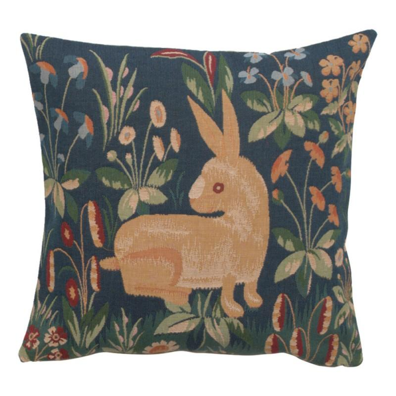 BUY RABBIT IN BLUE II FRENCH TAPESTRY CUSHION