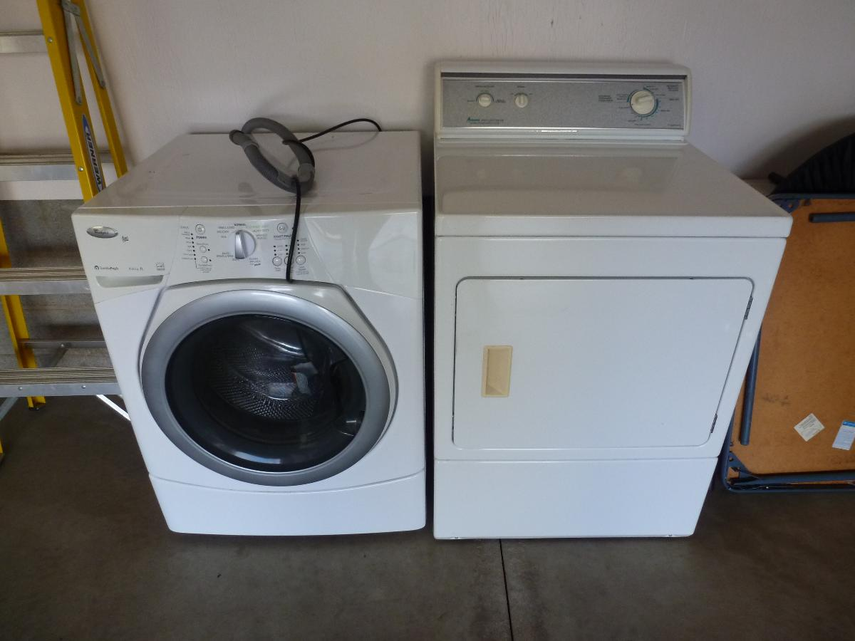 ELECTRIC WHIRLPOOL DUET FRONT LOAD WASHER, AMANA DRYER BOTH