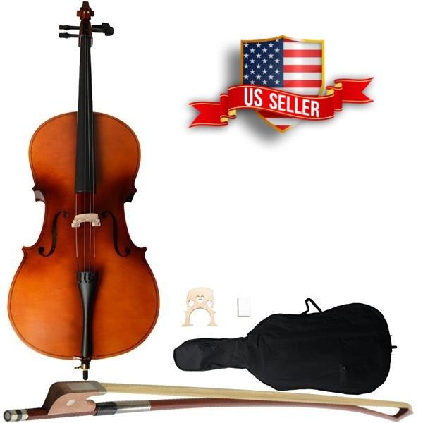 4/4 Acoustic Student Beginner Cello With Case Bow Rosin